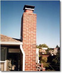 Front of fireplace chimney